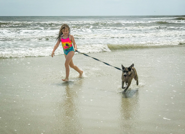 Sophia and Layla at the Beach by Sandy Gilbert